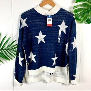TOMMY HILFIGER Blue & White Star Sweater Small